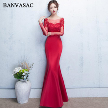 BANVASAC 2018 O Neck Lace Appliques Mermaid Long Evening Dresses Illusion Sleeve Backless Party Prom Gowns