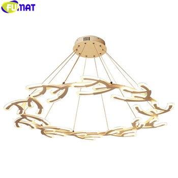 FUMAT Salon LED Lustre Moderne Acrylique Lampe Suspendue Noël Bois Lampe à LED Lustre Salle à Manger Restaurant
