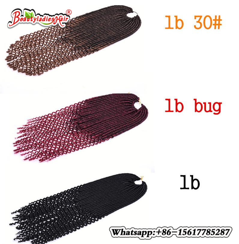 Eunice hår 14,18 tum faux locs lockigt syntetiskt virkehåring - Syntetiskt hår