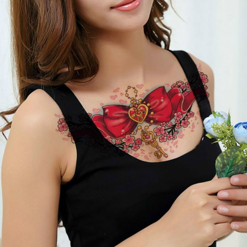 Big Red Store >> Us 1 08 10 Off Realistic Temporary Tattoo Big Red Bow Heart Daisies Womens Kids Fake In Temporary Tattoos From Beauty Health On Aliexpress