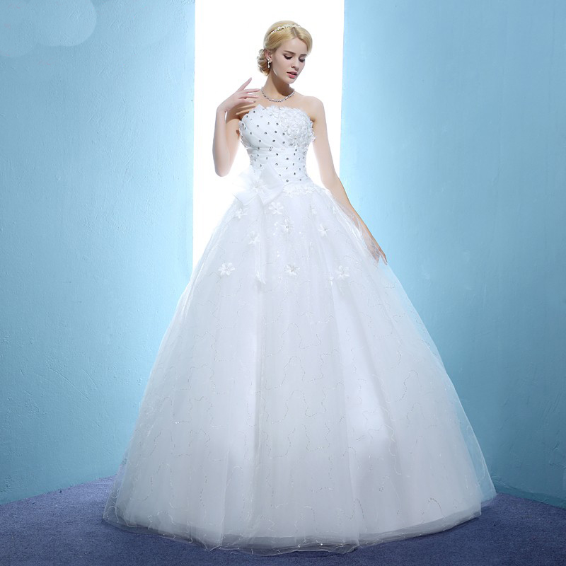 AXJFU Tube top wedding dress princess bow wedding dress puff slim ...