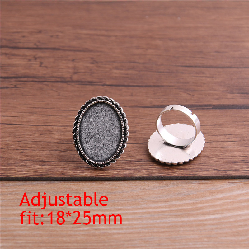 PULCHRITUDE 4pcs Fit 18x25mm Glass Cabochons Antique Bronze Silver Plated Oval Adjustable Ring Settings Blank Base P6483 in Jewelry Findings Components from Jewelry Accessories