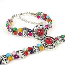 2018 Multi-layer Vintage Tibetan Silver Beaded Charm Bracelet Fashion Folk Style Ethnic DIY Circular Female Jewelry