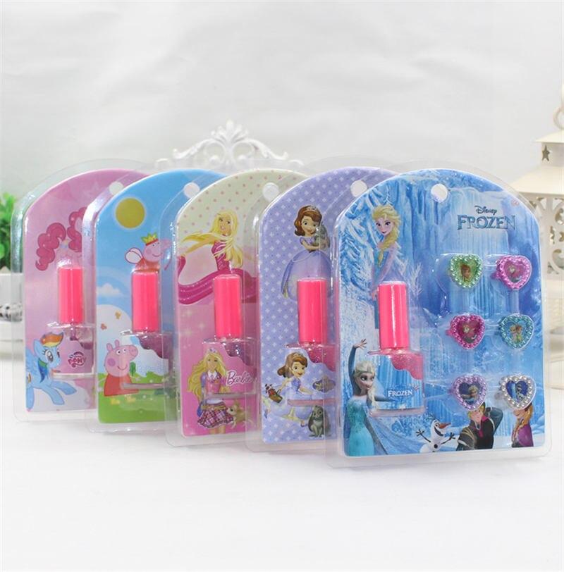 Belleza y moda juguetes congelados 2018 muñeca accesorios uñas falso uñas manicura historieta Sticker + anillo