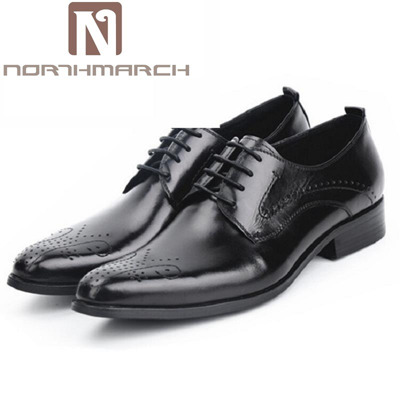 NORTHMARCH Italian Designer Black Brogue Shoes Genuine Leather Lace Up Men Formal Dress Oxfords Party Office Wedding Footwear 2017 new fashion italian designer formal mens dress shoes embossed leather luxury wedding shoes men loafers office for male