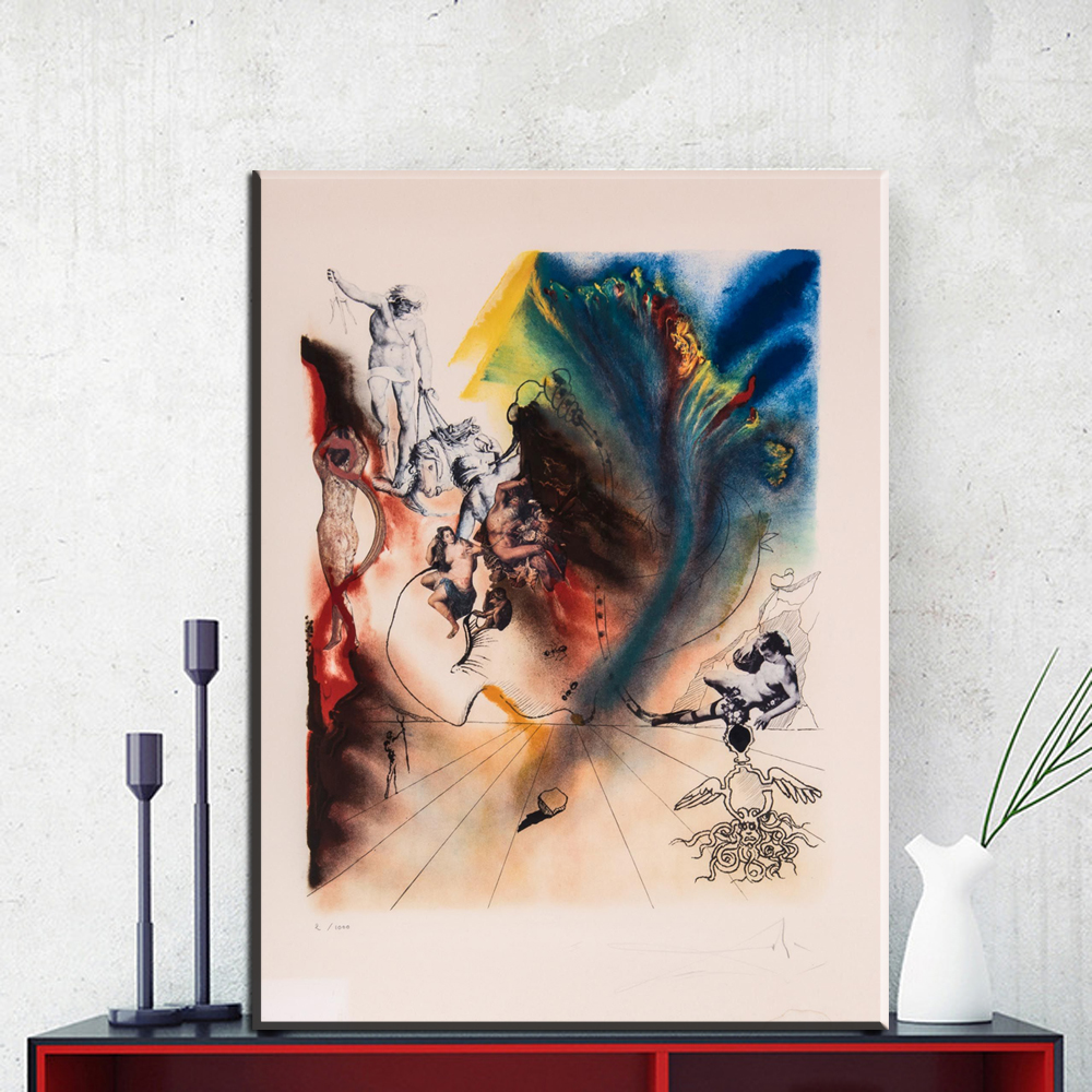 ZZ1162 Salvador Dali Signed L/E Lithograph MAD TEA PARTY from ALICE IN WONDERLAND SUITE canvas pictures for livingroom decor art