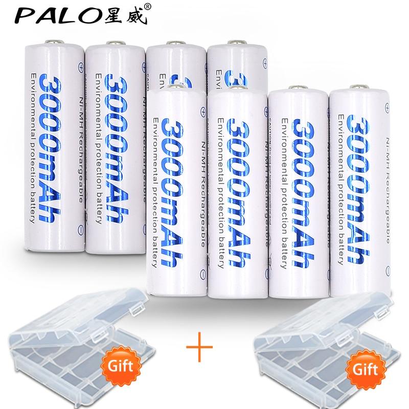 8 stücke/2 karte PALO AA Akku AA NiMH 1,2 V 3000 mAh Ni-Mh 2A vorgeladenen Bateria Wiederaufladbare Batterien für Kamera