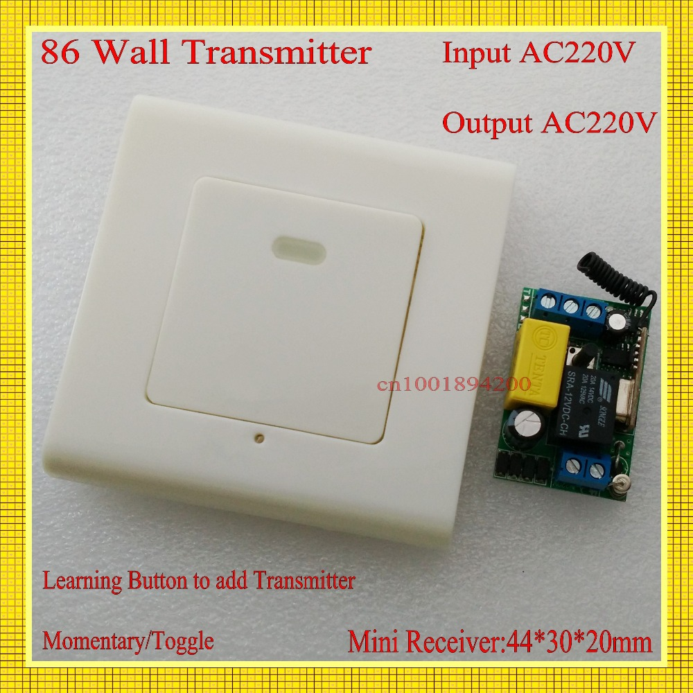 Panel Wireless Wall Transmitter Remote AC 220V 1CH 10A Relay Mini Receiver Learning Code ASK TX Input 220V Output AC220V my2n j mini relay relay block ac 220v