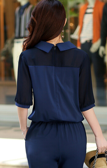 Большой размер 3xl 4xl летние комбинезоны 2017 one piece брюки нагрудные элегантный salopette синий длинные брюки женские комбинезоны