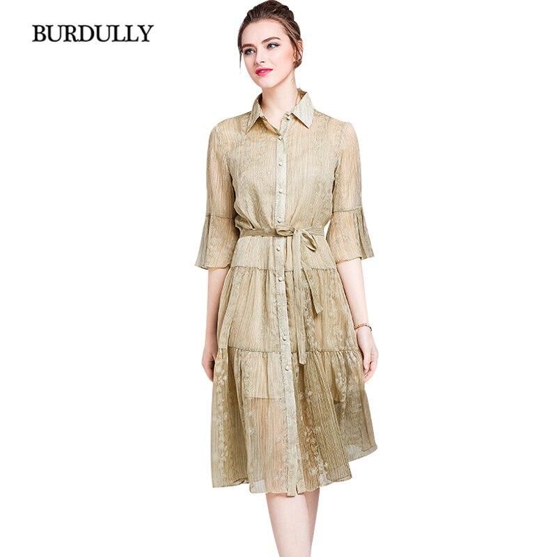 f91e4904474 D été De Taille Chinois Burdully Designer 2018 Mode Vêtements Vintage Femme  Style Khaki Luxe Grande La Robes À pink Longue ...