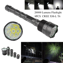 SecurityIng 20000 Lumen 8x XML T6 5 Modes LED Flashlight Super Bright Torch Portable Light for Outdoor / Camping Hiking