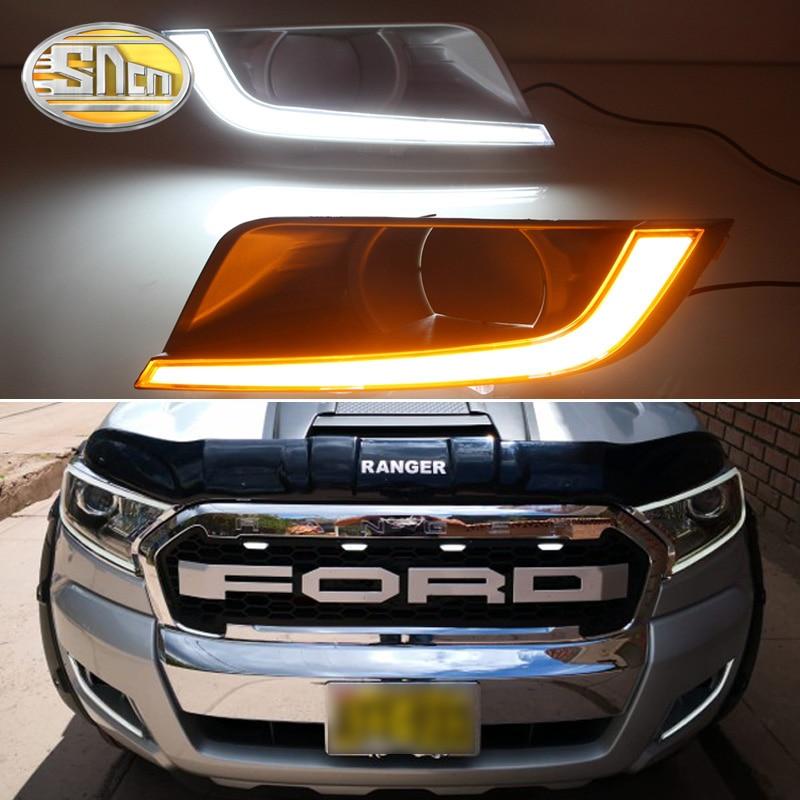 SNCN 2PCS LED Daytime Running Light For Ford Ranger 2015 2016 2017 2018 Turning Yellow Signal