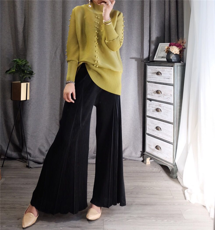 FREE SHIPPING Miyake Fashion fold Split-fork high waist   wide     leg     pants   IN STOCK
