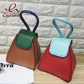 Vintage fashion stitching color Pu leather casual totes geometry handbag ladies mini chain shoulder bag across the body purse