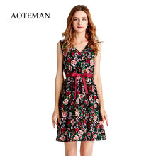 AOTEMAN Summer Dress Women Sweet Print Floral Fashion Casual Style Deep V Sexy Dress Vintage Female Elegant Beach Party Dresses(China)