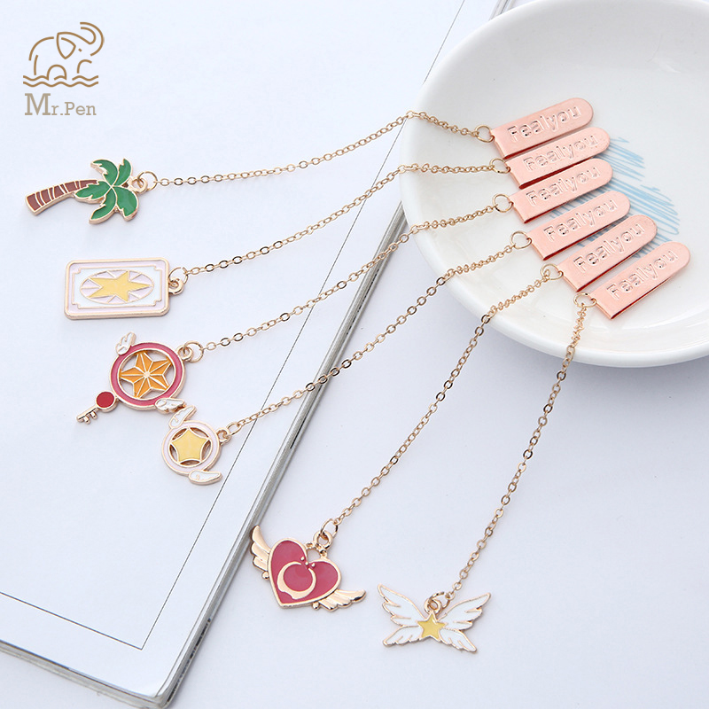 5pcs Dancing Girl Flamingos Pendant Bookmark Kawaii Stationery School Office Supply Delicate Metal Bookmarks Student Gifts