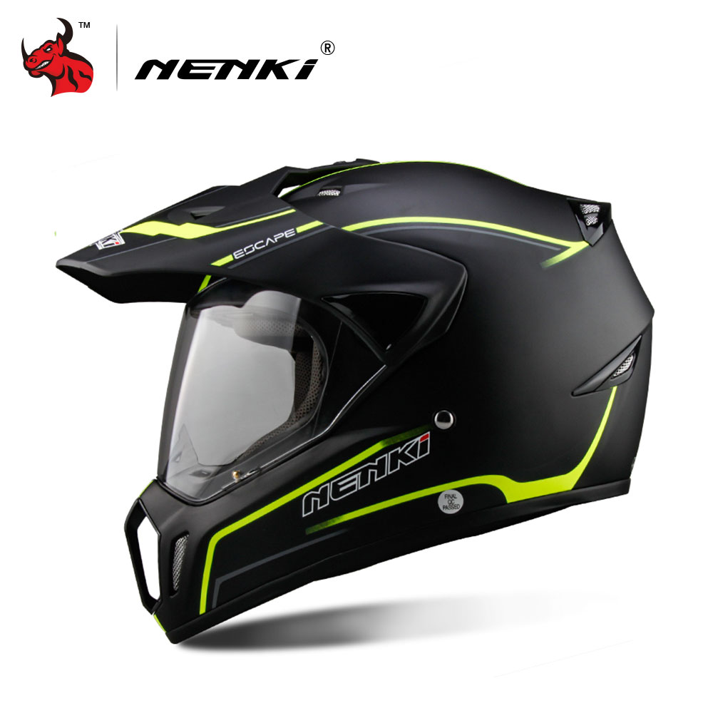 NENKI Full Face Motorcycle Helmet Motocross Helmet ATV Moto Helmet Cross Downhill Off-road Motorcycle Helmet DOT 5Color cute lemon yellow helmet downhill motorcycle full face motocross helmets atv 6 high quality