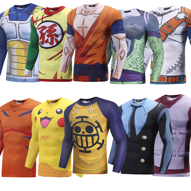 New 2018 Brand 3D Print Cartoon Anime T shirt Dargon Ball Pokemon/One Piece/Naruto/One Punch Man Tight Compression Shirt