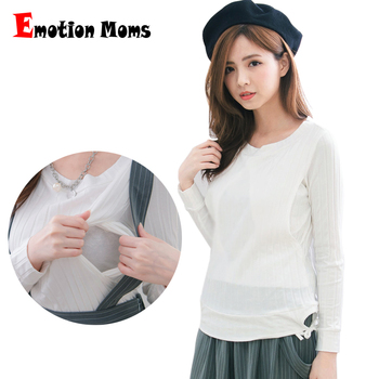 Emotion Moms Long Sleeve Maternity Clothes Maternity tops breastfeeding T-shirt for Pregnant Women pregnancy Clothes new maternity clothes pregnancy nursing long sleeves tshirt women hooded breastfeeding tops patchwork t shirt for pregnant women