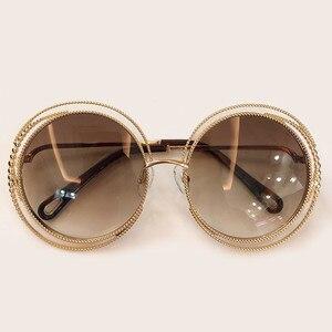 Image 5 - Nieuwe Stijl Ronde Zonnebril Vrouwen Luxe Merk Designer Grote Metalen Frame Zonnebril Vrouwelijke Shades 2019 Fashion Outdoor Eyewear