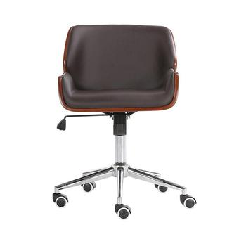 Mid-Back Bentwood Swivel Office Computer Chair PU Leather Office Furniture For Home,Conference Mid Century Adjustable Armchair mid century wooden desk