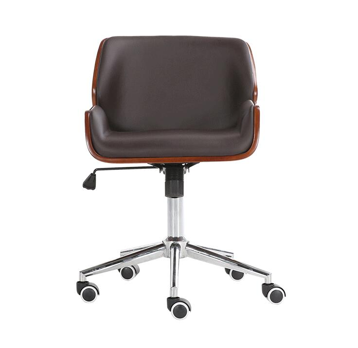 Mid-Back Bentwood Swivel Office Computer Chair PU Leather Office Furniture For Home,Conference Mid Century Adjustable Armchair ribbed mid back office chair in white