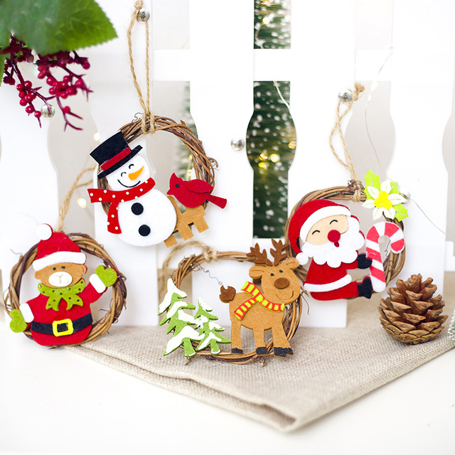 Us 1 75 Christmas Decorations For Tree Cartoon Felt Ring Rattan Decorations Pendant Christmas Creative Drop Ornaments Z1019 New In Pendant Drop