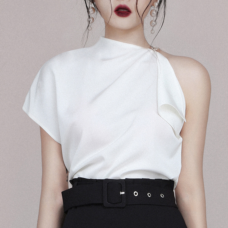 INDRESSME 2019 New Two piece Set One Shoulder White Top Wrap Skirt Black Sashes With Buckle in Women 39 s Sets from Women 39 s Clothing