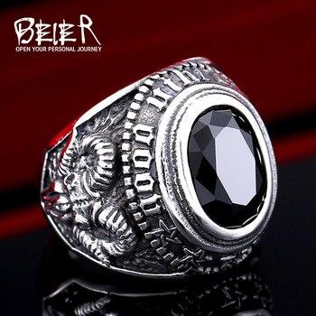 71596928926f BEIER Acero inoxidable fresco único anillo de piedra negra titanio acero  Retro antiguo Totem joyería para hombre precio de fábrica venta BR8-334