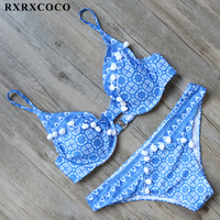 RXRXCOCO Brand Printed Bikini Set 2017 Sexy Padded Swimwear Women Halter Bandage Bikini Push Up Swimsuit