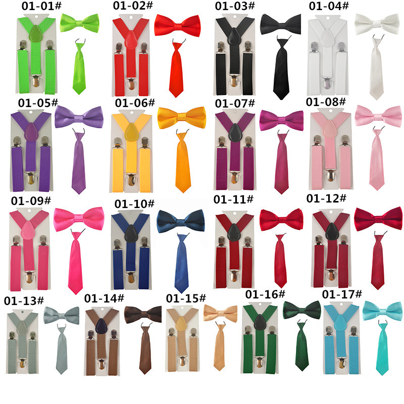 Suspenders Tie-Set Shirt Suspensorio-Tie-Bowties Butterfly Girls Boys Kids School Children