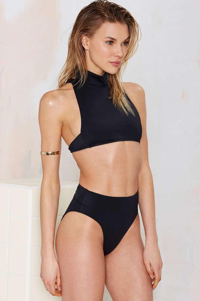 2016 new fashion women black halter high neck tank top bikini high waisted swimsuit brazilian. Black Bedroom Furniture Sets. Home Design Ideas