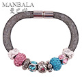 MANBALA Hot Sale Female Bracelet of Fashion Magnetic Clasp Mesh Bracelets Jewelry Crystal Rhinestone Bangle W03AH