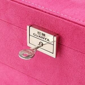 Image 5 - Guanya גדול גודל 26*26*12.5cm פלנלית תכשיטי תיבות קוסמטי עגילי טבעת אביזרי אחסון תיבת כיכר אריזת מתנה עבור נשים