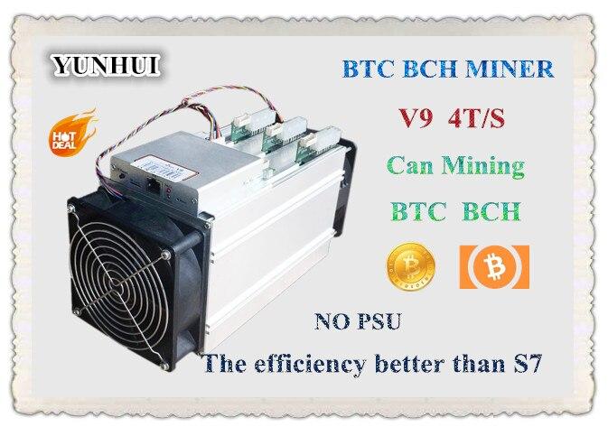 YUNHUI nuevo AntMiner V9 4 t/s Bitcoin Minero (sin alimentación) asic minero más nuevo 16nm Btc BCC minero económico que S9 M3 E9