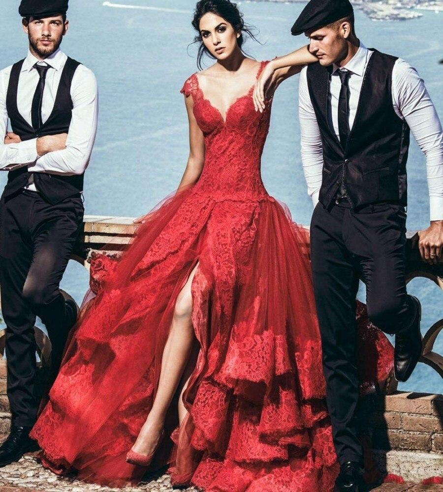 41ff442bd 2019 De moda Sexy encaje rojo boda Vestido De baile Vestido De tul con  apliques Split