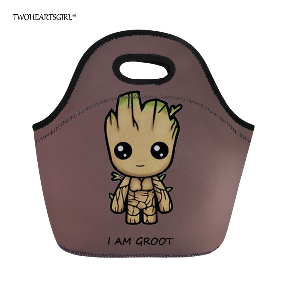 Twoheartsgirl Cartoon I am Groot Coolor Lunch Bag Neoprene Insulated Lunch Bag for School Kids Thermo Women Lunch Tote Food Bag