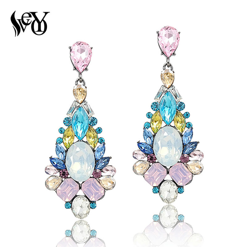 """VEYO prabangūs auskarai """"Crystal Drop"""" auskarai moterims mados papuošalams elegantiškai karštai parduodami aukštos kokybės"""