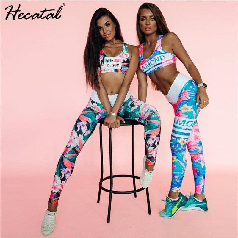 Women Yoga Set Printed Yoga Gym Sportwear Bra Leggings High Stretch Gym Clothing Tracksuit For Women Sports Yoga Sets in Yoga Sets from Sports Entertainment