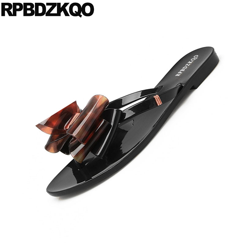 968f23959daade Slippers Bow Big Size Slides Bowtie Pink Flip Flop Women Sandals Flat  Casual Holiday Rubber Beach Cute Pvc Shoes Black Plastic-in Women s Sandals  from Shoes ...