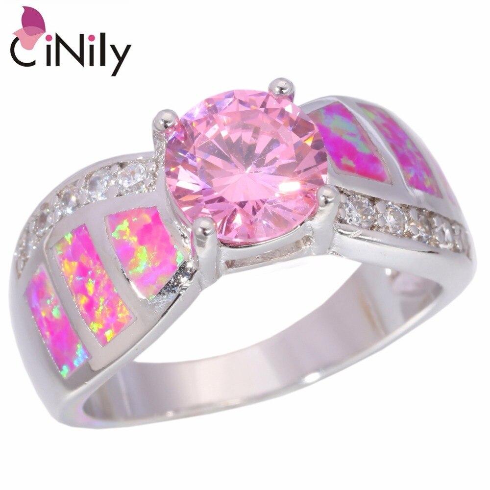ღ ღCiNily Created Pink Fire Opal Pink Zircon Cubic Zirconia Silver ...
