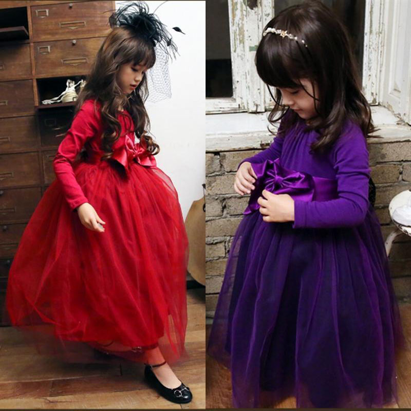 2018 Autumn Winter Girls Long Maxi Dress Red Purple Princess Baby Clothes Children Clothing Wedding Party Costume Kids Dresses girls europe the united states children princess long sleeved purple lace flower dress female costume kids clothing bow purple