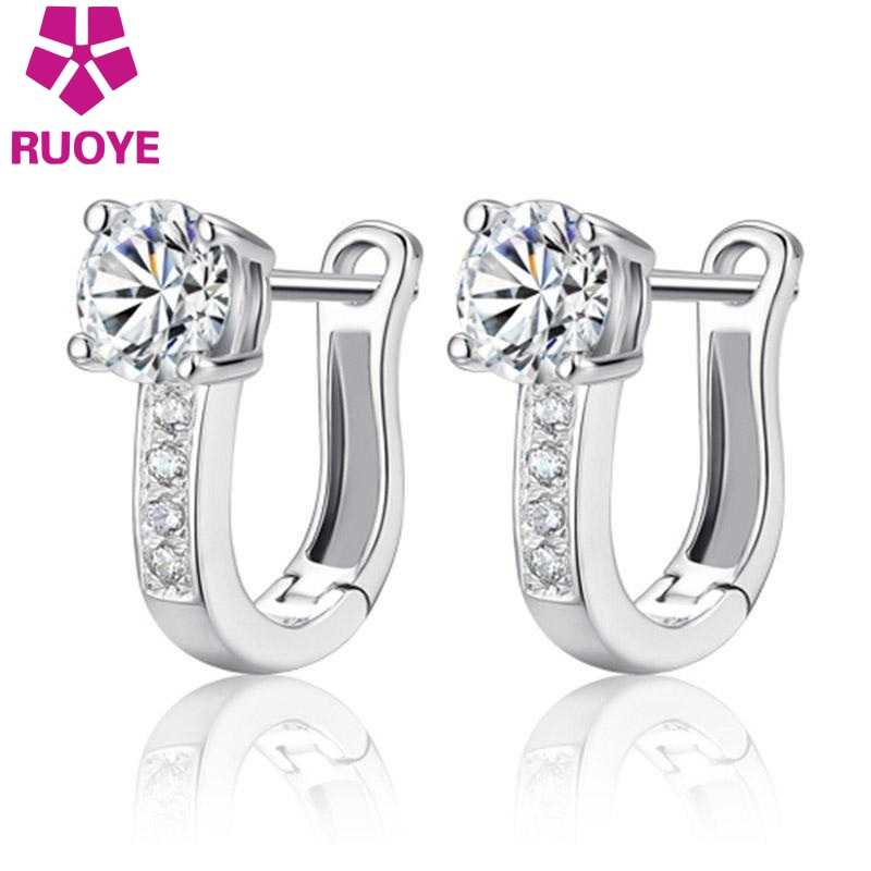 e9d956fb8 Detail Feedback Questions about Fashion 925 sterling silver stud earrings  jewelry luxury Rhinestone inlaid