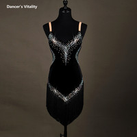 Lady Performance Dress Women Latin Dance Clothes Latin Dance Dress Girls Stones Tassel Latin Dance Dresses
