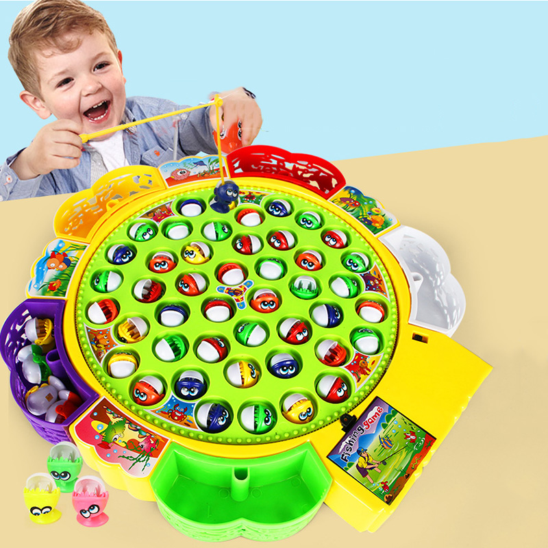 Kids Fishing Toy Musical Rotating Fishing Game 360 Degree Rotate Children Educational Toys Parent-child Interactive Games