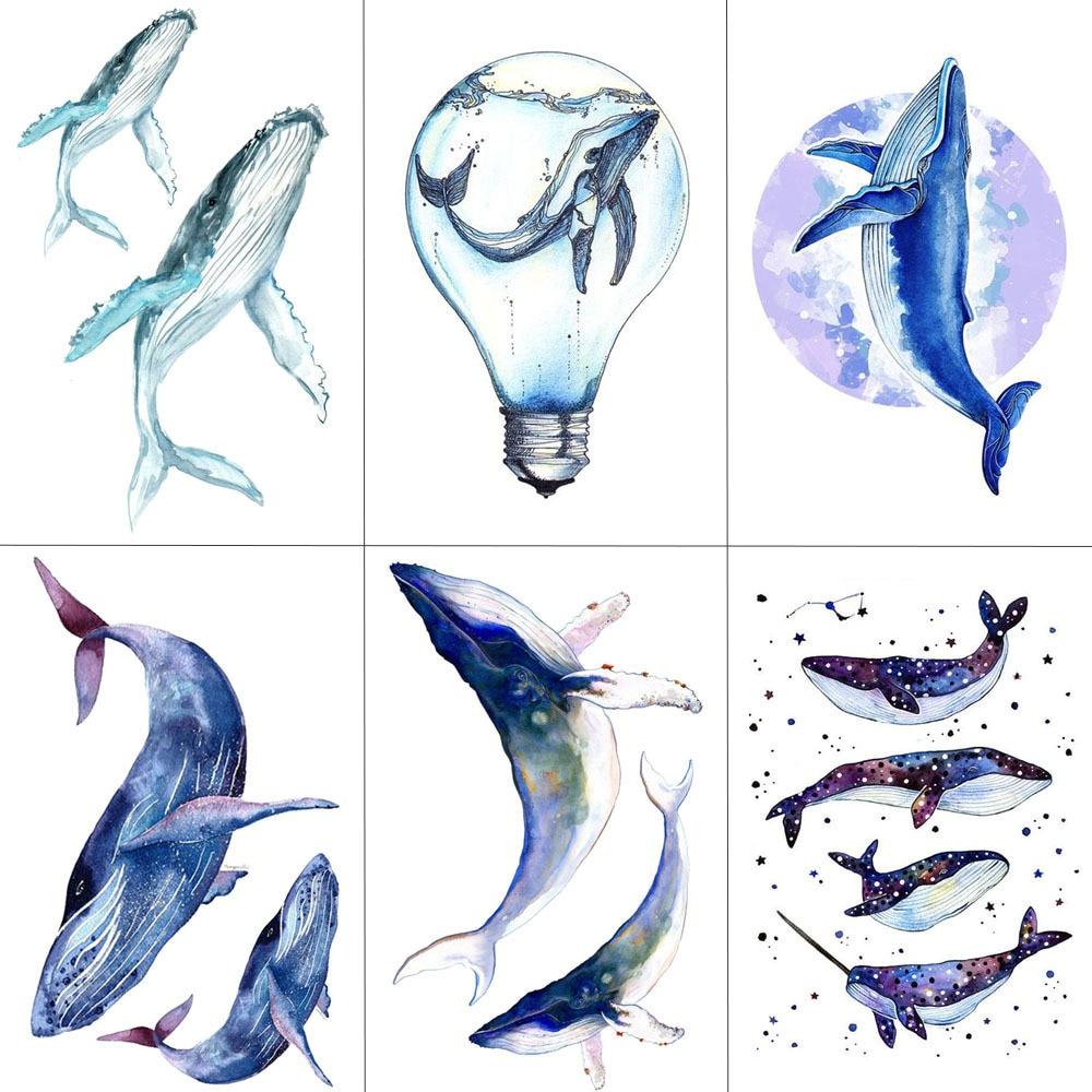 TCOOL Tubarão Baleia Mar Animais Mulheres Falso Body Art Braço Tatuagens Temporárias À Prova D' Água Etiqueta Do Tatuagem 9.8X6 cm Crianças mão Tatoo A-106