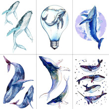 WYUEN Watercolor Whale Temporary Tattoos Waterproof Women Fashion Fake Body Art Arm Tattoo Sticker 9.8X6cm Kids Hand Tatoo A-106