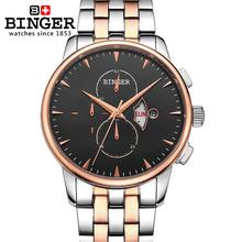 Switzerland men's watch luxury brand Wristwatches BINGER 18K gold Quartz watch full stainless steel Chronograph BG-0404-4