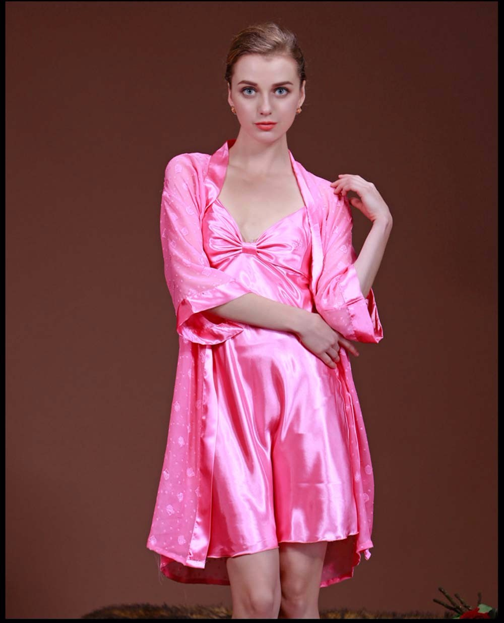 9307b70910 2016 Hot Sexy Women Black Champagne Silk Satin Robe Wedding Bride Bridesmaid  Lingerie Sleepwear Nightgown