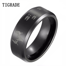 8mm Black Beveled Tungsten Ring With Wing Logo Male Finger Jewelry Free Shipping Size 6-12